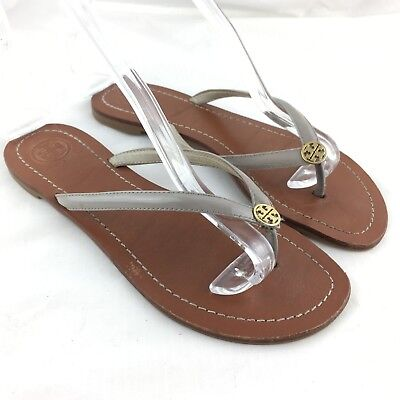 df19766c1f3e Tory Burch flip flop sandals gray patent leather 7 Terra Flat gold Logo  thong