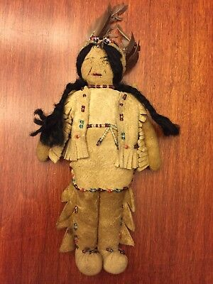 Vintage Native American Plains Indian Doll Beaded Leather Buckskin Feather Cloth