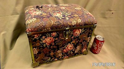 1488M Vtg Sewing Craft Storage Chest 14x10x12 Fabric Cover w/Padded Lid Seward ?