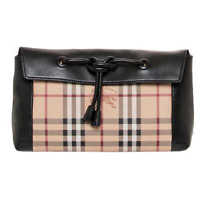 6ae52d55a34c BURBERRY SMALL LEATHER and Haymarket Check Clutch Bag -  299.00 ...