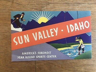 VINTAGE c.1950's 'SUN VALLEY - IDAHO' SKIING FLY FISHING LUGGAGE SUITCASE LABEL