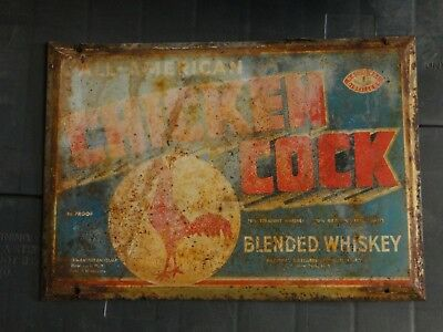 2 Rare Vintage original tin Chicken Cock Whiskey sign advertising whisky