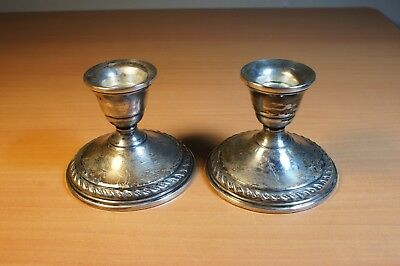 Pair of Vintage Preisner Sterling Weighted Candlesticks Candle Holders #14