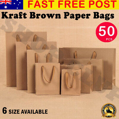 50pcs Brown Kraft Paper Shopping Carry Bags 6 sizes Gift Bag with Cloth Handles