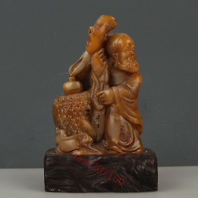 Chinese Exquisite Hand carved Luohan Carving Shoushan Stone statue seal