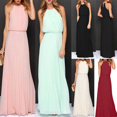 Women Formal Long Chiffon Prom Evening Bridesmaid Wedding Ball Gown Maxi Dresses