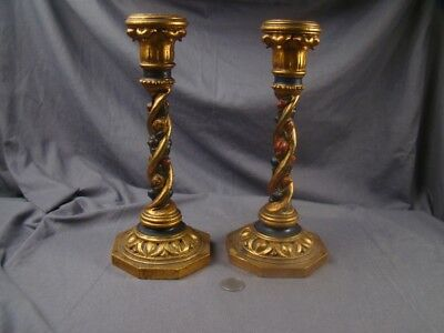 Rare Incredibly Fine 1920s Gilt Polychrome Carved Wooden Church Candlesticks