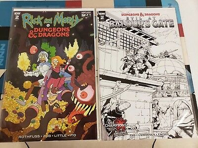 RICK AND MORTY vs DUNGEONS & DRAGONS #2 / Evil At Baldur's Gate #2 Variant Lot