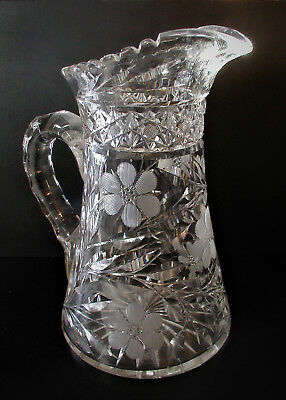 "American Brilliant Cut Glass Large ""Jewleled Daisies"" 10"" Tall Water Pitcher"