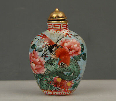 Chinese Exquisite Handmade Flower and bird pattern porcelain snuff bottle