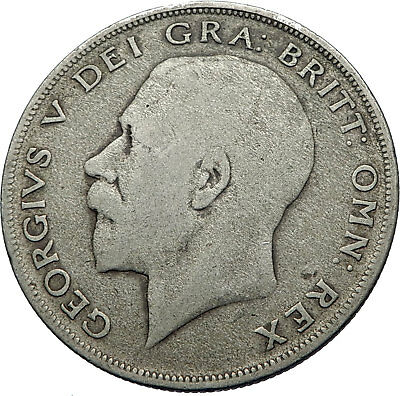 1920 Great Britain United Kingdom UK King GEORGE V Silver Half Crown Coin i71947