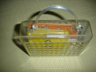 VINTAGE plastic pocketbook case with handle-with some sewing stuff