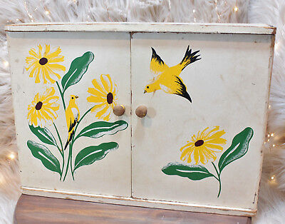 True Vintage 1950's Wall Mount Cabinet Hand Painted Birds Flowers Yellow
