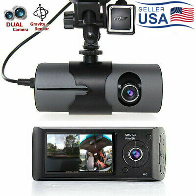 "Dual Lens Dash Cam 2.7"" Full HD LCD Car DVR Camera Video Recorder w/ GPS Logger"
