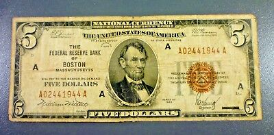 1929 $5 Five Dollar National Bank Note BOSTON Massachusetts BROWN SEAL