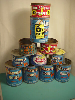 Vintage 1lb 2lb Coffee Tin Lot 11 Advertising Hills Bros Chase Maxwell House