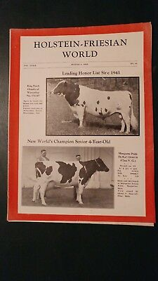 Holstein World 1942 Honor List Sires Of 1941 + World Production Champion + Pabst