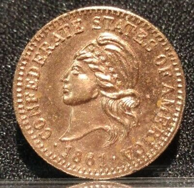 1861 Csa Confederate States Of America Cent Medal Penny Token Coin Civil War