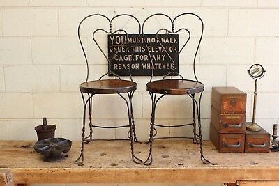 Pair x2 Vintage Antique Soda Fountain Cafe Chairs Wire Japanned Copper Flash