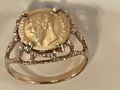 Antique 14k Gold 1865 Maximiliano Emperador Coin Pinky Signet Ring Size 4.25 2gr