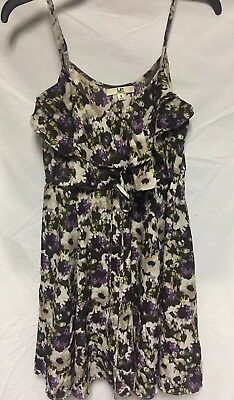 Ya Los Angeles Brown Purple Floral Ruffle Front Sundress Tank Dress Size S