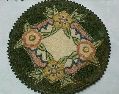 Original vtg. minature, hooked, silk Dollhouse rug, doily, green, floral, 6 3/8""