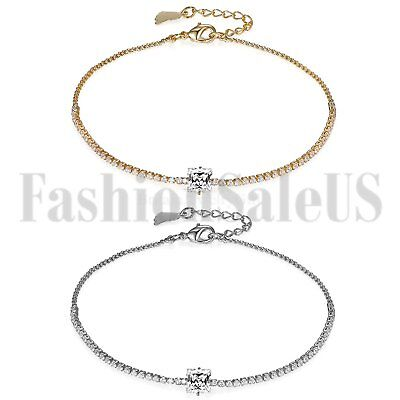 Womens Ladies CZ Inlaid Anklet Bangle Bracelet Ankle Chain Promise Xmas Gift