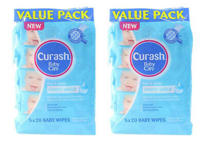 Curash Baby Wipes Pure & Gentle Simply Water x 2 (10 x 20 Value Pack)