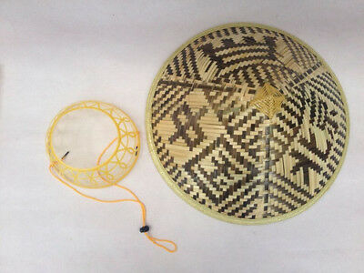 Bamboo Chinese Conical Hat Asian Japanese Straw Sun Rice Farmer Costume US