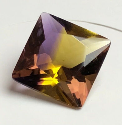 6.42 CTS AMETRINE SQUARE AAA! PURPLE & GOLDEN 12 x 12 mm