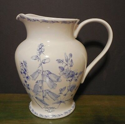 """NEW Queens Royal Horticultural Society Fine China The Garden Large 10"""" Pitcher"""