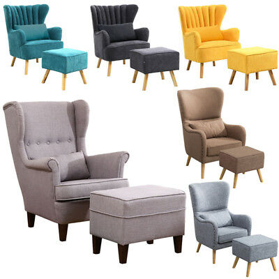 Wingback Bedroom Fireside Fabric Armchair Side Sofa Lounge Occasional Chair Seat
