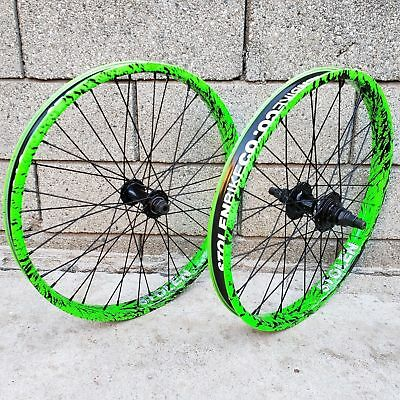 "Stolen Rampage Cassette 20"" Wheel Set 9T Rhd Toxic Splatter Bmx Bike Wheels"