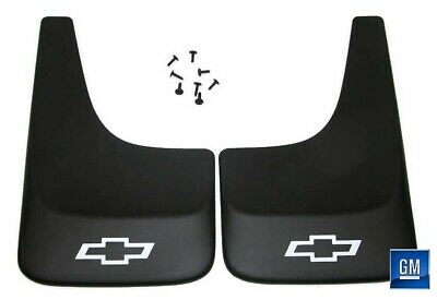 Silverado S10 Black Contoured Mudflaps Mud Flaps W/ Logo NEW GENUINE GM PAIR 391