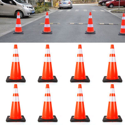NEW 8PCS Traffic Cone 28 inch Reflective Road Safety Parking Cones USA STOCK