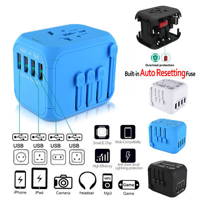 4 USB AUTO RESETTING Universal Travel Adapter Converter Charger Plug US UK AU EU
