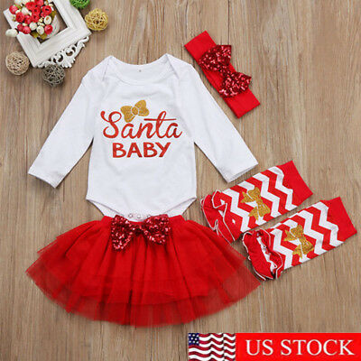 Xmas Newborn Baby Girl Santa Baby Romper Tulle Dress Leg Warmer Outfit Clothes