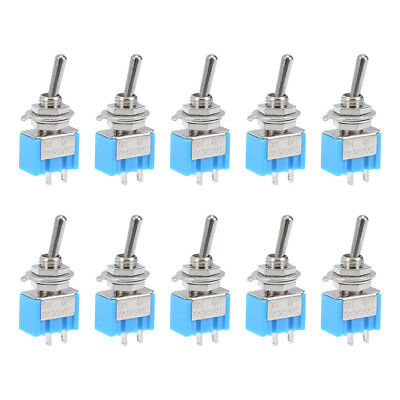 10 Pcs 125VAC 6A  On/off 2 Position Terminal SPDT Latching Mini Toggle Switch