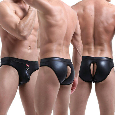 PU Leather Men/'s Wrestling Backless G-string Briefs Male Underwear Thongs C0897