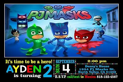 picture relating to Pj Masks Printable Images identify PJ MASK BIRTHDAY Invitation Printable 4x6 or 5x7 Turnaround Year 24-72hr