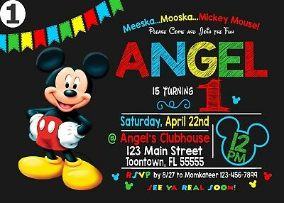 Mickey Mouse Birthday Invitation2 Printable 4x6 or 5x7 | Turnaround Time 24-72hr