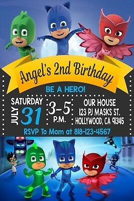 Pj Mask Birthday Invitation #2 Printable 4x6 or 5x7 | Turnaround Time 24-72hr