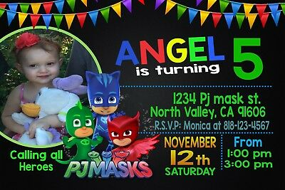 Pj Mask Birthday Invitation #3 Printable 4x6 or 5x7 | Turnaround Time 24-72hr