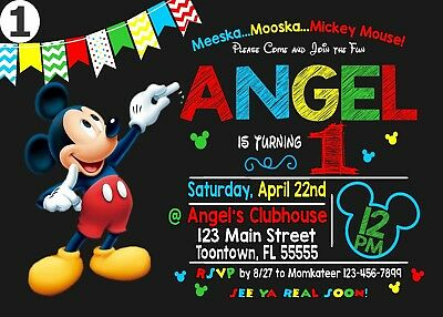Mickey Mouse Birthday Invitation Printable 4x6 or 5x7 | Turnaround Time 24-72hr