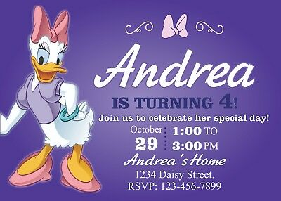 Daisy Duck Birthday Invitation Printable 4x6 or 5x7 | Turnaround Time 24-72hr