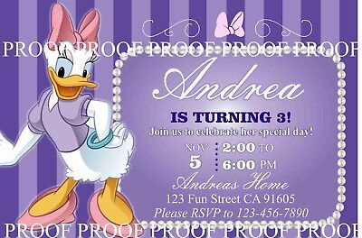 Daisy Duck Birthday Invitation #3 Printable 4x6 or 5x7 | Turnaround Time 24-72hr