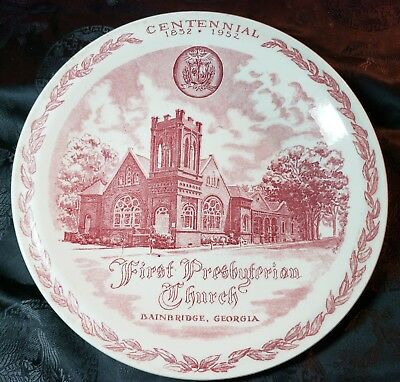 Historic First Presbyterian Church Centennial Collector Plate by Vernon Kilns