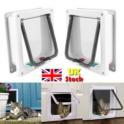 4 Way Small Mid large Pet Cat Dog Lock Lockable Security Safe Flap Door Staywell