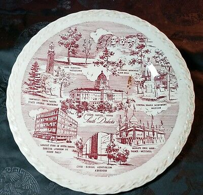 Historic South Dakota Coyote State Collector Plate by Vernon Kilns