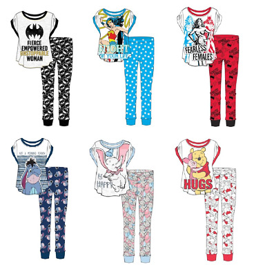 Ladies Womens & Girls Character Pyjamas Set Sleepwear Nightwear Size 8-22